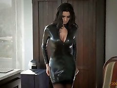 Fabulous mommy in latex Ania Kinski gets drilled decently