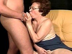 Wild grandma utilizes her boytoy