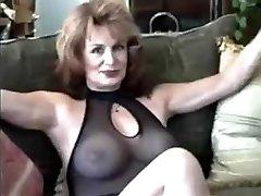 Milf in ebony lingerie