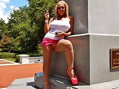Smoking public upskirts in escort high-heeled shoes