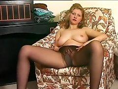 Seksikas Blond Põletab Augu Sukad