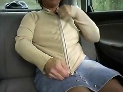 Redhead-BBW-Granny Outdoors in a Car by Two Guys