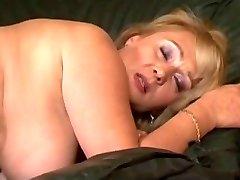 Hairy big tit platinum-blonde takes a pummeling