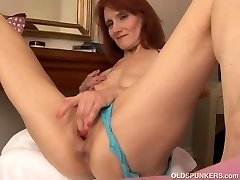 Skinny old spunker ravages her juicy cootchie for you