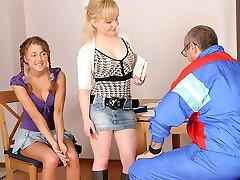 TrickyOldTeacher - Two hot coeds get naked and give mature schoolteacher threesome and sucking