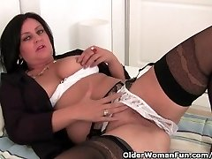 Mature Mummy Milks In Stockings And Crotchless Panties