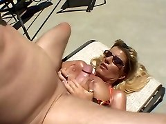 Hot Tanned Buxom Cougar Krystal Summers Humping Poolside