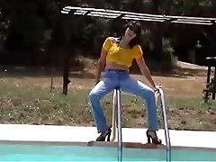 Marjorie is getting humid in her pool - outdoor
