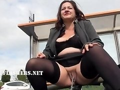 Obese Andreas public bareness and naughty mum flashing outdoors with british