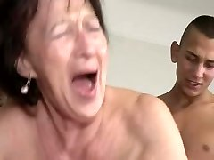 Granny Loves Young Boy's Testicles and Bootie