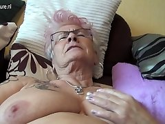 Highly old German grandma and her saggy tits