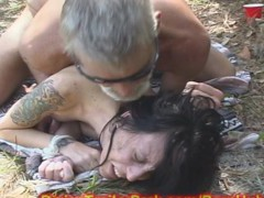 COUGAR MOM used a SEX SLAVE in FOREST