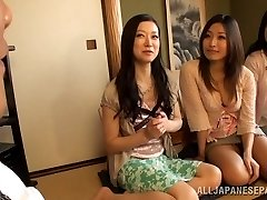 Chesty Housewifes Team Up On One Fellow And Jerk Him Off