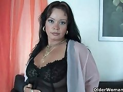 Sleazy moms in corset and pantyhose having solo fuckfest