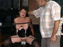 2 old folks torture mature brunette in dungeon