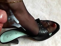 Feet in Nylons doused in Cum and Pee