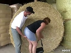 Naughty farmer lures round mature girl in glasses and pokes her in shed