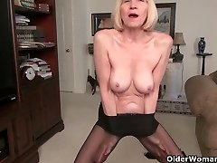 Thin grannies Bossy Rider and Maria stripping off