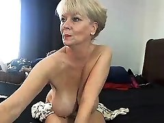 Chubby blonde in cotton panties uses big fucktoys