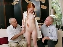 old studs with young redhair babe