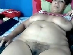 Mother Yasmine 46 playing on home web cam
