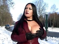 Leather Coat Flashing in Public - Bj Handjob with Leather Gloves - Cum on my Tits