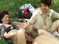 Horny russian picnic with enormous b(.)(.)bs mature