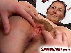 Grandma Linda pussy spreading close-ups and dildo-fucking