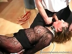 Mature bitch gets trussed and fucked with fuck stick