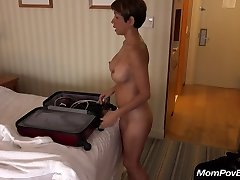 Buxomy asian MILF behind the scenes
