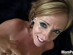 44 year old large globes cougar takes facial