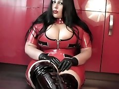 Kitchen Blow-job Handjob with Latex Gloves - Lady clothed in latex uniform Boots - Cum in my Mouth