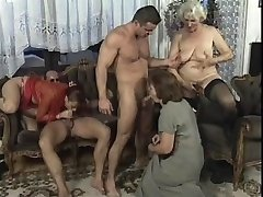 Horny Mature orgy in living room with monstrous dick studs