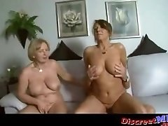 Two big-chested milfs in a threesome with one lucky guy