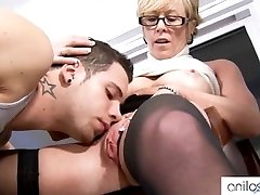 Horny grandmother seduces student
