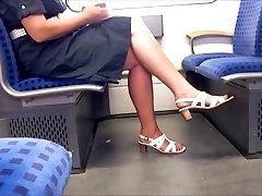 Candid Mature Legs With Longer Crimson Toenails