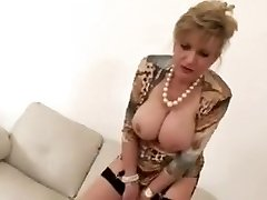 Tugging construction with red-hot mature Lady