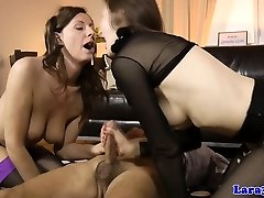 Mature cumswapping 3some with british milf