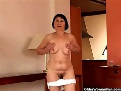 Over 70 grandma does striptease and drains