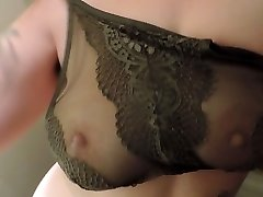 HD Milkymama strips and teases fun bags through lacey bra