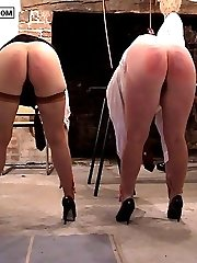 Two pretty school girls touch their toes with knickers off for a very hard caning