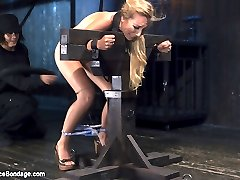 Emma's petite body looks amazing covered in hard steel and leather. Her body is restrained to render her completely helpless and available to Orlando for punishment. Her body gets the full treatment of torment; flogging, cat-o-nine, pegs, clamps, breath control, and a sybian ride that shook this poor helpless girl's brain for almost 30 minutes.
