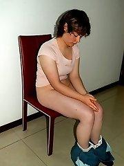 Gorgeous submissive girl thrashed OTK
