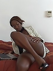 Kinky black babe screams as her vagina gets banged roughly