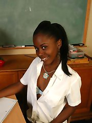 Tiny Ebony is a horny schoolgirl