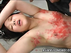 Asian bitch has a waxing and spanking show you how session