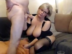German blond hard and fine MILF in stockings and boots sucks and fucks