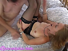 Stunning Blonde MILF In lezz anal sex with strapon Cums Hard Fucking Huge Cock