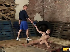 Slave toy Skyler toying with his anime enema dicks fingering and loving a huge dildo