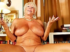Old granny with stacy rae blue tits and tanned body